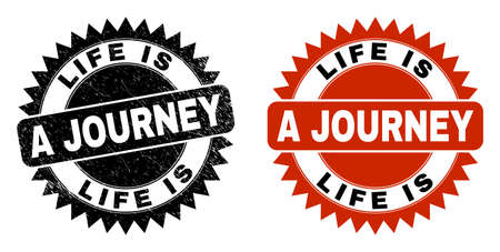 Black rosette LIFE IS A JOURNEY seal stamp. Flat vector distress stamp with LIFE IS A JOURNEY phrase inside sharp rosette, and original clean source. Watermark with distress texture. Иллюстрация