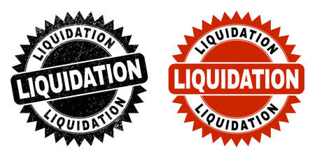 Black rosette LIQUIDATION watermark. Flat vector grunge watermark with LIQUIDATION phrase inside sharp rosette, and original clean source. Rubber imitation with grunge style.