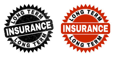 Black rosette LONG TERM INSURANCE seal stamp. Flat vector distress seal stamp with LONG TERM INSURANCE phrase inside sharp rosette, and original clean source. Watermark with scratched surface. Ilustración de vector