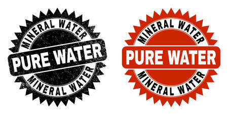 Black rosette MINERAL WATER PURE WATER stamp. Flat vector grunge watermark with MINERAL WATER PURE WATER title inside sharp rosette, and original clean source. Watermark with grunged style.