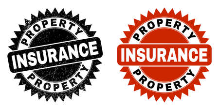 Black rosette PROPERTY INSURANCE seal stamp. Flat vector scratched seal with PROPERTY INSURANCE text inside sharp rosette, and original clean version. Watermark with unclean style.