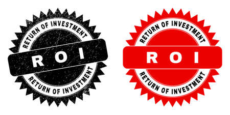 Black rosette RETURN OF INVESTMENT R O I seal stamp. Flat vector grunge seal with RETURN OF INVESTMENT R O I caption inside sharp star shape, and original clean template. Watermark with grunge style.