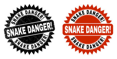 Black rosette SNAKE DANGER! stamp. Flat vector distress seal stamp with SNAKE DANGER! phrase inside sharp rosette, and original clean version. Imprint with distress texture.