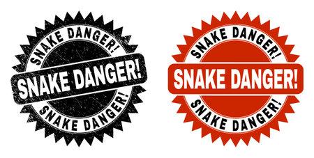 Black rosette SNAKE DANGER! stamp. Flat vector distress seal stamp with SNAKE DANGER! phrase inside sharp rosette, and original clean version. Imprint with distress texture. 向量圖像