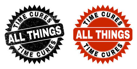 Black rosette TIME CURES ALL THINGS watermark. Flat vector distress stamp with TIME CURES ALL THINGS title inside sharp rosette, and original clean version. Watermark with scratched surface.