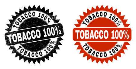 Black rosette TOBACCO 100% seal stamp. Flat vector distress seal stamp with TOBACCO 100% message inside sharp rosette, and original clean source. Imprint with distress surface.