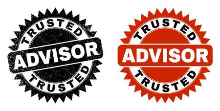 Black rosette TRUSTED ADVISOR watermark. Flat vector textured watermark with TRUSTED ADVISOR caption inside sharp rosette, and original clean source. Watermark with grunge style.