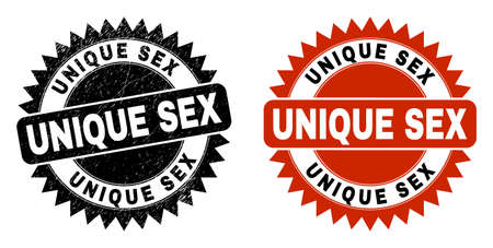 Black rosette UNIQUE SEX seal. Flat vector textured seal stamp with UNIQUE SEX caption inside sharp rosette, and original clean version. Watermark with distress surface.