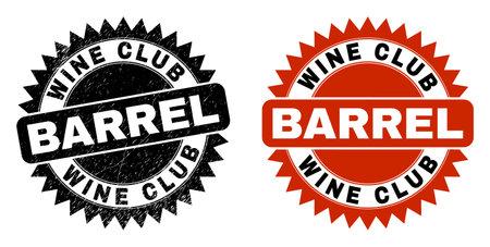 Black rosette WINE CLUB BARREL watermark. Flat vector grunge watermark with WINE CLUB BARREL phrase inside sharp rosette, and original clean source. Imprint with grunge style. Illusztráció