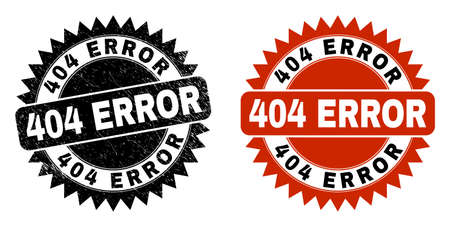 Black rosette 404 ERROR seal stamp. Flat vector distress seal stamp with 404 ERROR text inside sharp rosette, and original clean source. Watermark with unclean surface. Illustration