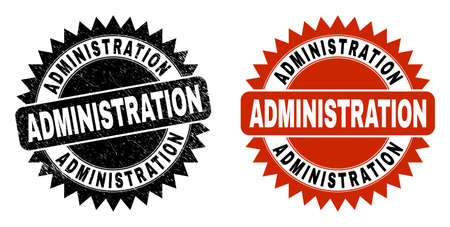 Black rosette ADMINISTRATION seal. Flat vector distress seal stamp with ADMINISTRATION message inside sharp rosette, and original clean source. Rubber imitation with grunge style. Vecteurs