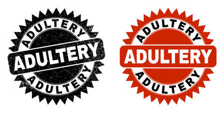Black rosette ADULTERY seal stamp. Flat vector textured seal stamp with ADULTERY phrase inside sharp rosette, and original clean source. Imprint with scratched surface.