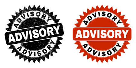 Black rosette ADVISORY seal stamp. Flat vector scratched seal with ADVISORY message inside sharp rosette, and original clean source. Watermark with grunge texture.