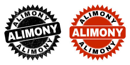 Black rosette ALIMONY stamp. Flat vector scratched seal stamp with ALIMONY phrase inside sharp rosette, and original clean version. Watermark with unclean surface.
