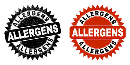 Black rosette ALLERGENS seal stamp. Flat vector grunge seal stamp with ALLERGENS message inside sharp rosette, and original clean version. Watermark with distress texture.