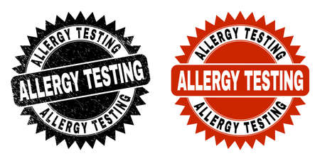 Black rosette ALLERGY TESTING watermark. Flat vector textured watermark with ALLERGY TESTING title inside sharp rosette, and original clean template. Watermark with distress style.