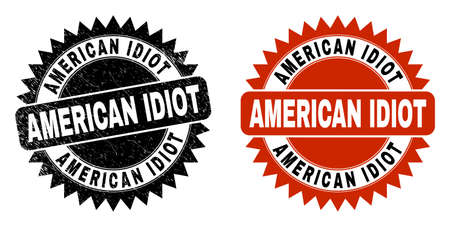Black rosette AMERICAN IDIOT seal. Flat vector scratched seal stamp with AMERICAN IDIOT message inside sharp rosette, and original clean template. Rubber imitation with unclean texture.