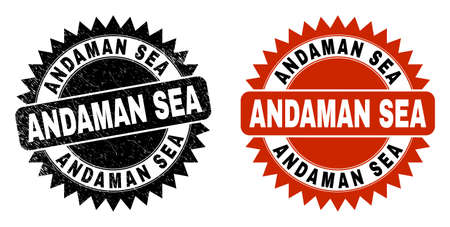 Black rosette ANDAMAN SEA stamp. Flat vector scratched stamp with ANDAMAN SEA caption inside sharp star shape, and original clean source. Rubber imitation with scratched surface.