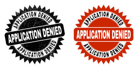 Black rosette APPLICATION DENIED seal stamp. Flat vector scratched seal stamp with APPLICATION DENIED message inside sharp rosette, and original clean source. Rubber imitation with scratched texture.