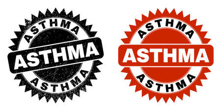 Black rosette ASTHMA seal stamp. Flat vector textured seal stamp with ASTHMA message inside sharp rosette, and original clean version. Rubber imitation with distress texture.
