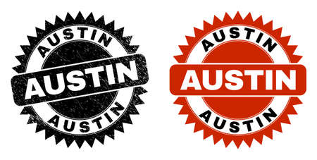 Black rosette AUSTIN watermark. Flat vector scratched seal stamp with AUSTIN message inside sharp rosette, and original clean version. Watermark with scratched texture.