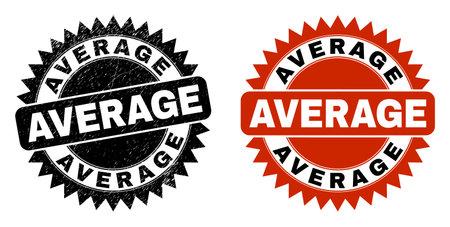 Black rosette AVERAGE seal stamp. Flat vector grunge stamp with AVERAGE message inside sharp rosette, and original clean version. Rubber imitation with corroded surface. Ilustração