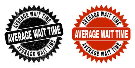 Black rosette AVERAGE WAIT TIME seal stamp. Flat vector textured seal stamp with AVERAGE WAIT TIME caption inside sharp star shape, and original clean source. Imprint with corroded surface.