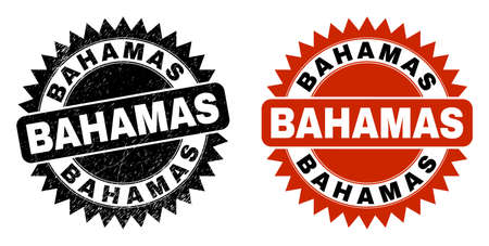 Black rosette BAHAMAS seal stamp. Flat vector distress seal with BAHAMAS text inside sharp star shape, and original clean version. Watermark with distress texture.