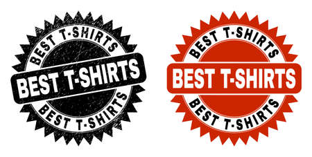Black rosette BEST T-SHIRTS seal stamp. Flat vector scratched stamp with BEST T-SHIRTS text inside sharp rosette, and original clean source. Rubber imitation with corroded surface.