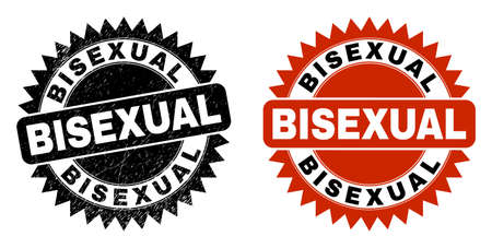 Black rosette BISEXUAL seal stamp. Flat vector textured seal stamp with BISEXUAL phrase inside sharp rosette, and original clean source. Rubber imitation with grunge texture.