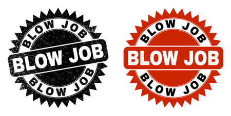Black rosette BLOW JOB stamp. Flat vector scratched watermark with BLOW JOB text inside sharp rosette, and original clean version. Watermark with distress texture.