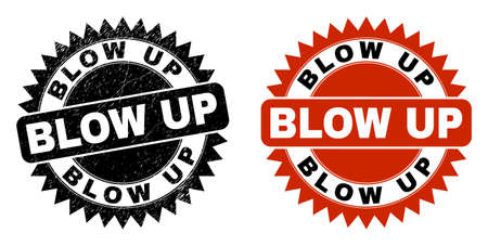 Black rosette BLOW UP stamp. Flat vector textured seal stamp with BLOW UP title inside sharp rosette, and original clean source. Rubber imitation with unclean texture.