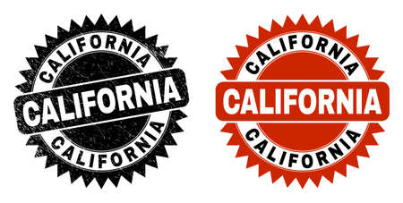 Black rosette CALIFORNIA seal stamp. Flat vector scratched seal stamp with CALIFORNIA text inside sharp star shape, and original clean version. Imprint with grunged surface.