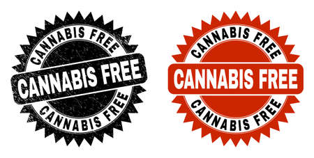Black rosette CANNABIS FREE watermark. Flat vector distress watermark with CANNABIS FREE text inside sharp rosette, and original clean template. Watermark with unclean style.