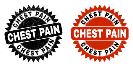 Black rosette CHEST PAIN watermark. Flat vector textured seal stamp with CHEST PAIN text inside sharp rosette, and original clean template. Watermark with unclean texture. Vector Illustration