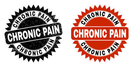Black rosette CHRONIC PAIN seal stamp. Flat vector textured seal stamp with CHRONIC PAIN caption inside sharp rosette, and original clean template. Rubber imitation with unclean style.