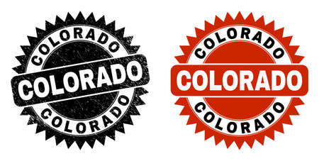 Black rosette COLORADO seal stamp. Flat vector scratched stamp with COLORADO caption inside sharp rosette, and original clean source. Rubber imitation with scratched surface.