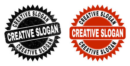 Black rosette CREATIVE SLOGAN seal. Flat vector scratched seal with CREATIVE SLOGAN title inside sharp rosette, and original clean version. Rubber imitation with grunge surface.