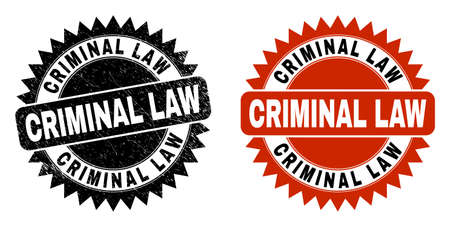 Black rosette CRIMINAL LAW stamp. Flat vector grunge stamp with CRIMINAL LAW phrase inside sharp rosette, and original clean source. Rubber imitation with corroded texture.