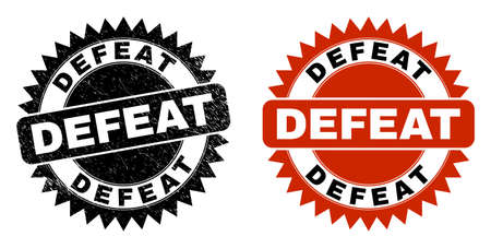 Black rosette DEFEAT seal stamp. Flat vector scratched stamp with DEFEAT message inside sharp rosette, and original clean source. Imprint with scratched surface.
