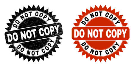 Black rosette DO NOT COPY seal stamp. Flat vector scratched seal stamp with DO NOT COPY title inside sharp star shape, and original clean template. Imprint with scratched surface.