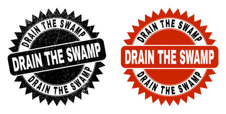 Black rosette DRAIN THE SWAMP seal. Flat vector distress seal stamp with DRAIN THE SWAMP title inside sharp rosette, and original clean version. Rubber imitation with scratched texture.