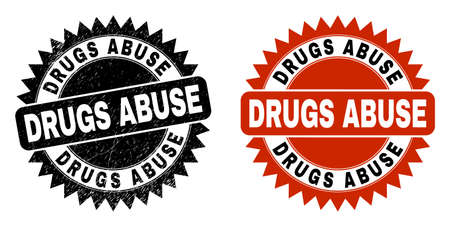 Black rosette DRUGS ABUSE seal stamp. Flat vector distress seal with DRUGS ABUSE phrase inside sharp rosette, and original clean version. Imprint with corroded style.