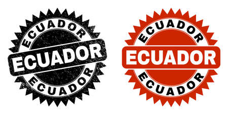 Black rosette ECUADOR stamp. Flat vector grunge stamp with ECUADOR message inside sharp rosette, and original clean source. Watermark with grunge texture.