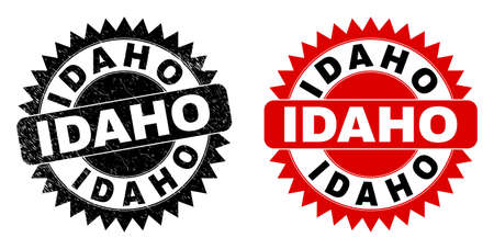 Black rosette IDAHO seal stamp. Flat vector grunge seal stamp with IDAHO phrase inside sharp star shape, and original clean source. Watermark with grunged surface.