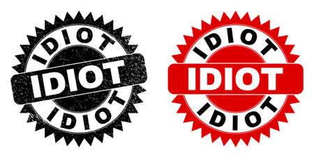 Black rosette IDIOT seal. Flat vector scratched watermark with IDIOT title inside sharp rosette, and original clean source. Watermark with scratched texture.