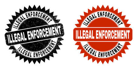 Black rosette ILLEGAL ENFORCEMENT seal. Flat vector grunge watermark with ILLEGAL ENFORCEMENT text inside sharp rosette, and original clean template. Watermark with grunge surface.