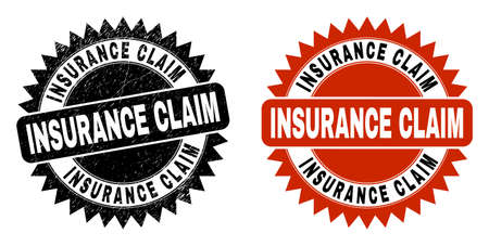 Black rosette INSURANCE CLAIM seal stamp. Flat vector textured seal with INSURANCE CLAIM title inside sharp rosette, and original clean version. Imprint with unclean texture. Иллюстрация