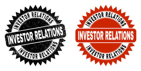 Black rosette INVESTOR RELATIONS seal stamp. Flat vector grunge stamp with INVESTOR RELATIONS message inside sharp rosette, and original clean version. Watermark with corroded style. Vector Illustratie