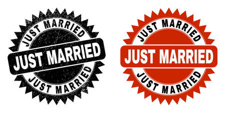Black rosette JUST MARRIED watermark. Flat vector textured seal stamp with JUST MARRIED title inside sharp rosette, and original clean version. Watermark with distress texture.